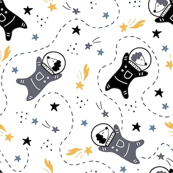 Hand drawn seamless pattern of space with star, comet, dog astronaut element. doodle style illustration.