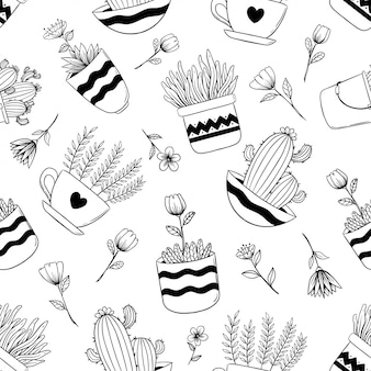 Hand drawn seamless pattern of spring flowers in pot