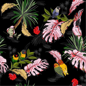 Hand drawn seamless pattern tropical concep`t