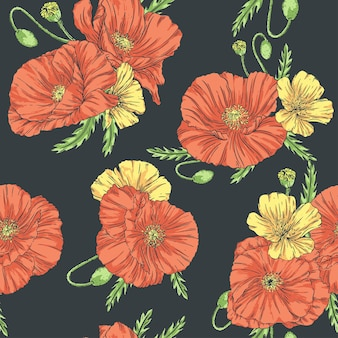 Hand drawn seamless pattern in vintage style with poppies and wildflowers on a dark background.