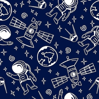 Hand drawn seamless pattern with astronaut, satellite and planets in doodle style.