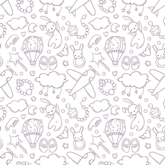 Hand drawn seamless pattern with baby black and white toys and accessories
