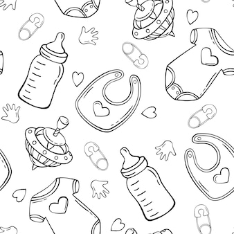 Hand drawn seamless pattern with baby bodysuit milk bottle peg top safety pin baby bib in doodle sketch style