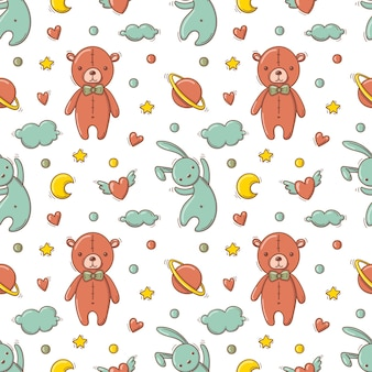 Hand drawn seamless pattern with baby colorful toys as teddy bear and flying rabbit.