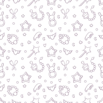 Hand drawn seamless pattern with baby toys and accessories.