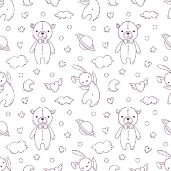 Hand drawn seamless pattern with baby toys as teddy bear and flying rabbit.