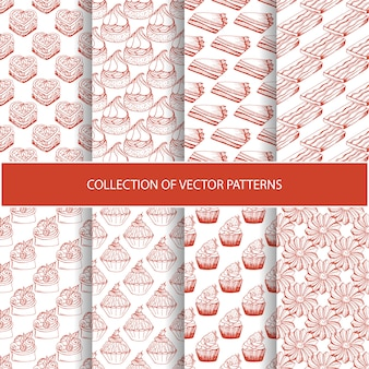 Hand drawn seamless pattern with bakery