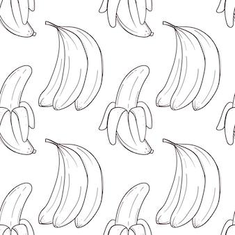 白い背景の上のバナナと手描きのシームレスなパターン。