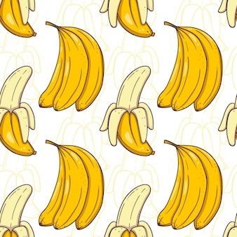 Hand drawn seamless pattern with bananas on white background.