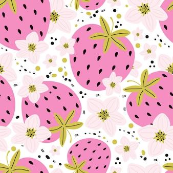 白い背景の上の葉と果実とイチゴの花と手描きのシームレスなパターン。夏の背景の甘い果実。ファブリック、ラッピング、テキスタイルの創造的なスカンジナビアの子供たちのテクスチャ