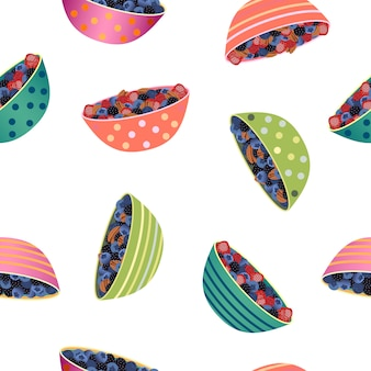 Hand-drawn seamless pattern with berry bowls.
