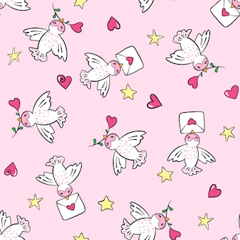 Hand drawn seamless pattern with birds and hearts.