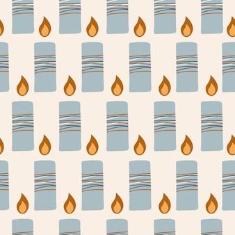 베이지색 배경 현대 벡터 일러스트 레이 션에 파란색 촛불 손으로 그린된 원활한 패턴