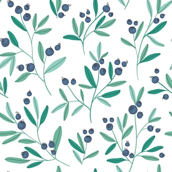 Hand drawn seamless pattern with blueberry branches and leaves