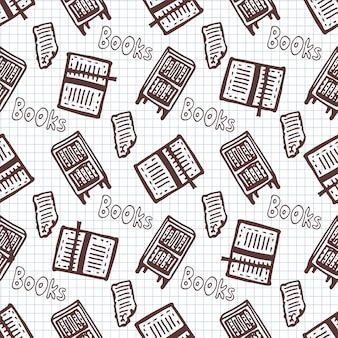Hand drawn seamless pattern with books and bookcase. school library background.
