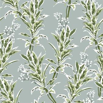 手描きの植物と葉のシームレスパターン