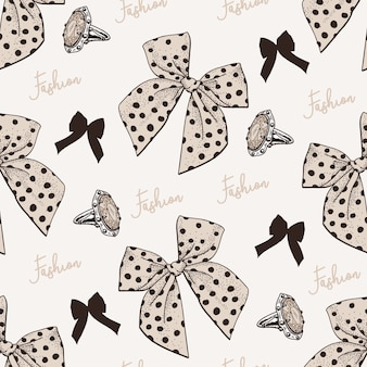 Hand drawn seamless pattern with bow.cdr