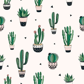 Hand drawn seamless pattern with cacti and succulents, vector design