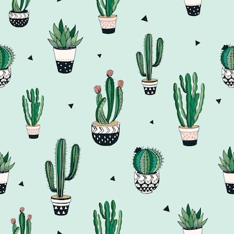 Hand drawn seamless pattern with cacti and succulents