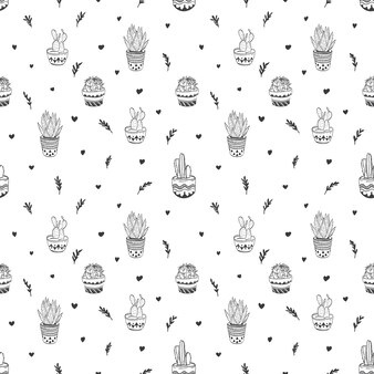 Hand drawn seamless pattern with cactus and succulents