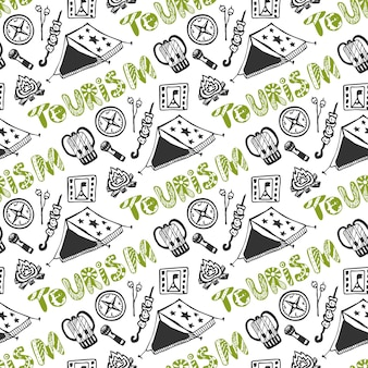 Hand drawn seamless pattern with camping holiday elements. summer vacation background. tourism