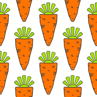 Рисованной бесшовные модели с морковью. векторная иллюстрация эко еды