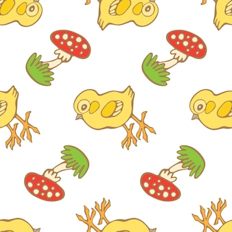 Hand drawn seamless pattern with chicks and mushrooms isolated on white background
