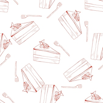 Hand drawn seamless pattern with chocolate cake and fork
