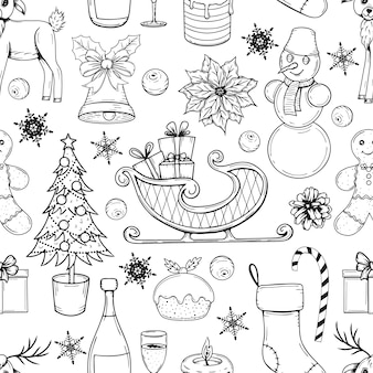 白い背景の上のクリスマスの要素と手描きのシームレスなパターン。