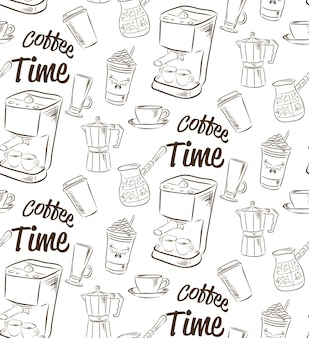 Hand drawn seamless pattern with coffee concept.