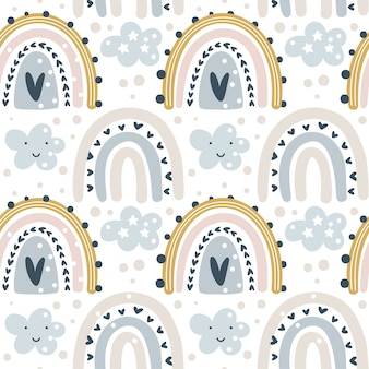 Hand drawn seamless pattern with colorful pastel rainbows