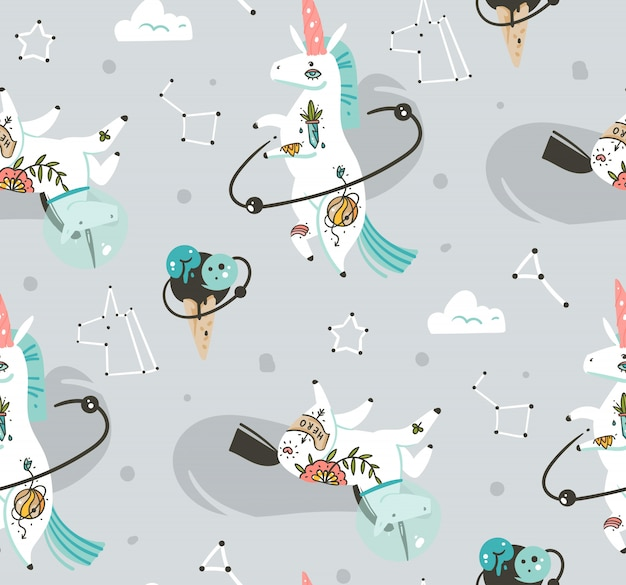 Hand drawn seamless pattern with cosmonaut unicorns in cosmos isolated on grey background