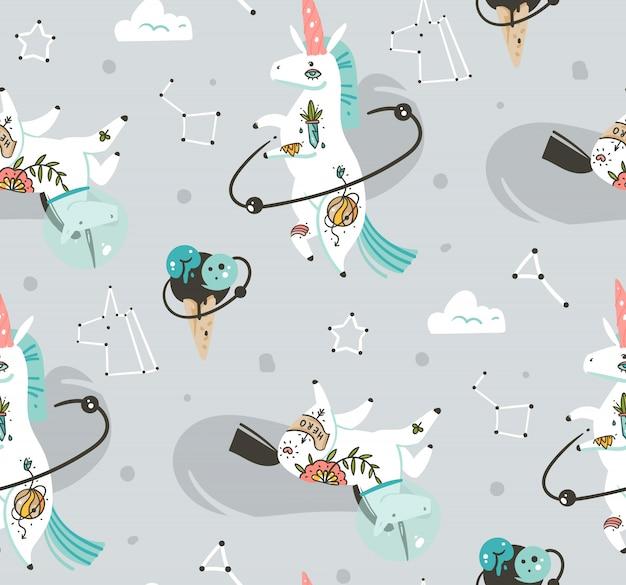灰色の背景に分離されたコスモスで宇宙飛行士のユニコーンと手描きのシームレスパターン