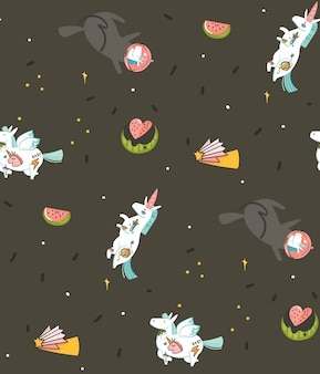 Hand drawn seamless pattern with cosmonaut unicorns and planets in cosmos isolated on black background