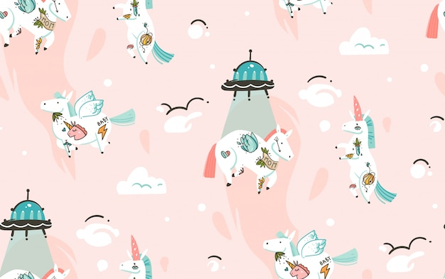Hand drawn seamless pattern with cosmonaut unicorns  and spaceship in cosmos isolated on pink background
