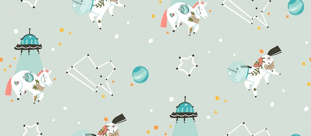 Hand drawn seamless pattern with cosmonaut unicorns spaceship and planets in cosmos isolated on grey background