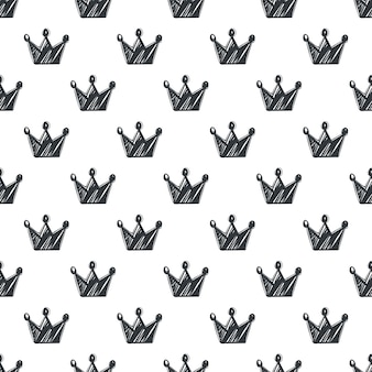 Hand drawn seamless pattern with crowns
