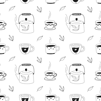 Hand drawn seamless pattern with cups of tea, teapot, herbs. black and white illustration for packaging, fabric, wallpaper.