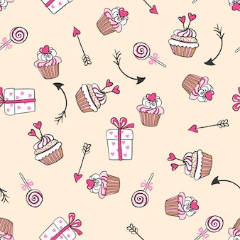 Hand drawn seamless pattern with cute cakes, arrows and gifts.