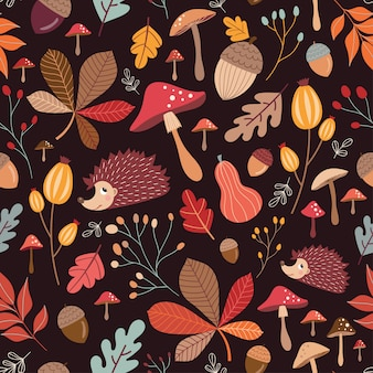 Hand drawn seamless pattern with cute elements