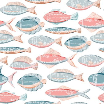 Hand drawn seamless pattern with cute fishes in doodle style in pink and blue colors
