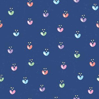 かわいい花と手描きのシームレスなパターン。深い青色の背景にテクスチャとカラフルな花のイラスト