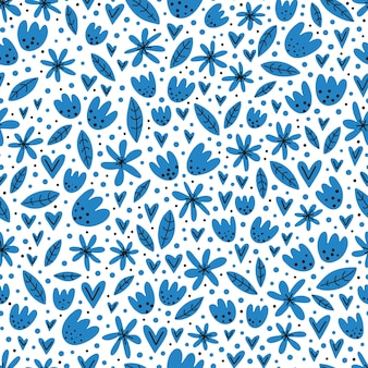 Hand drawn seamless pattern with cute flowers.