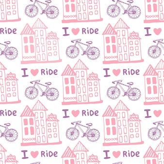 Hand drawn seamless pattern with cute houses and bicycle in pink colors