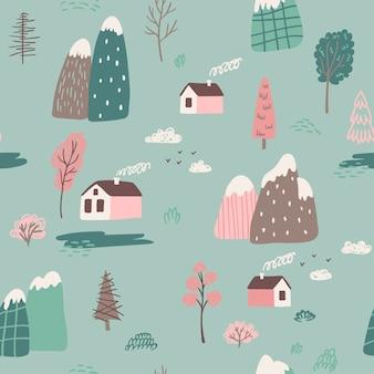 かわいい家、木と山、フィールドと手描きのシームレスなパターン。抽象的なスカンジナビアのグラフィック春の風景のコンセプト。子供の生地、繊維、保育園の設計に最適です。ベクトル図
