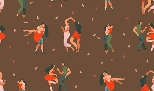 Hand drawn seamless pattern with dancing couples