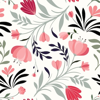 Hand drawn seamless pattern with decorative flowers and plants
