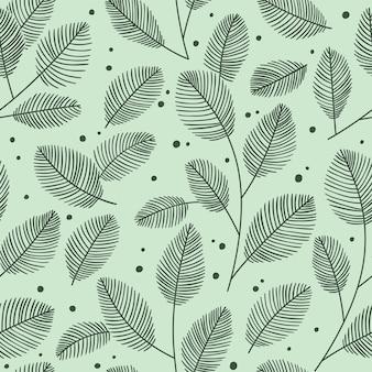 손으로 그린 장식용 잎이 있는 매끄러운 패턴입니다. 가 벡터 일러스트 레이 션.