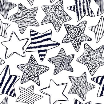 Hand-drawn seamless pattern with decorative stars