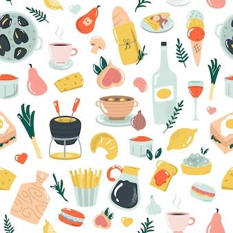 おいしいフランス料理と手描きのシームレスなパターン。テキスタイル、調理器具、バナー、その他の目的のためのベクトルイラスト